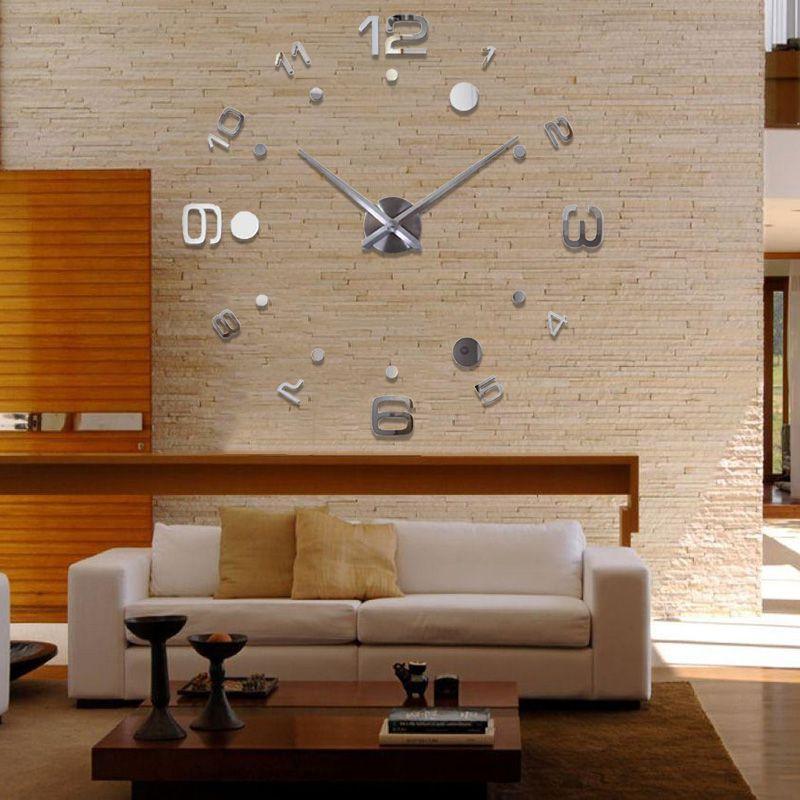 Relogio Grande 3D Parede Enfeite Escritorio Casa Prata Decorativo