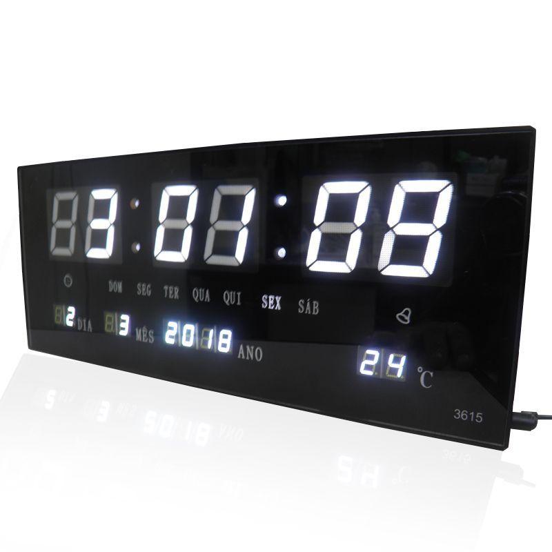 Relogio Parede Led Digital Branco Alarme Termometro Calendario (rel-57)