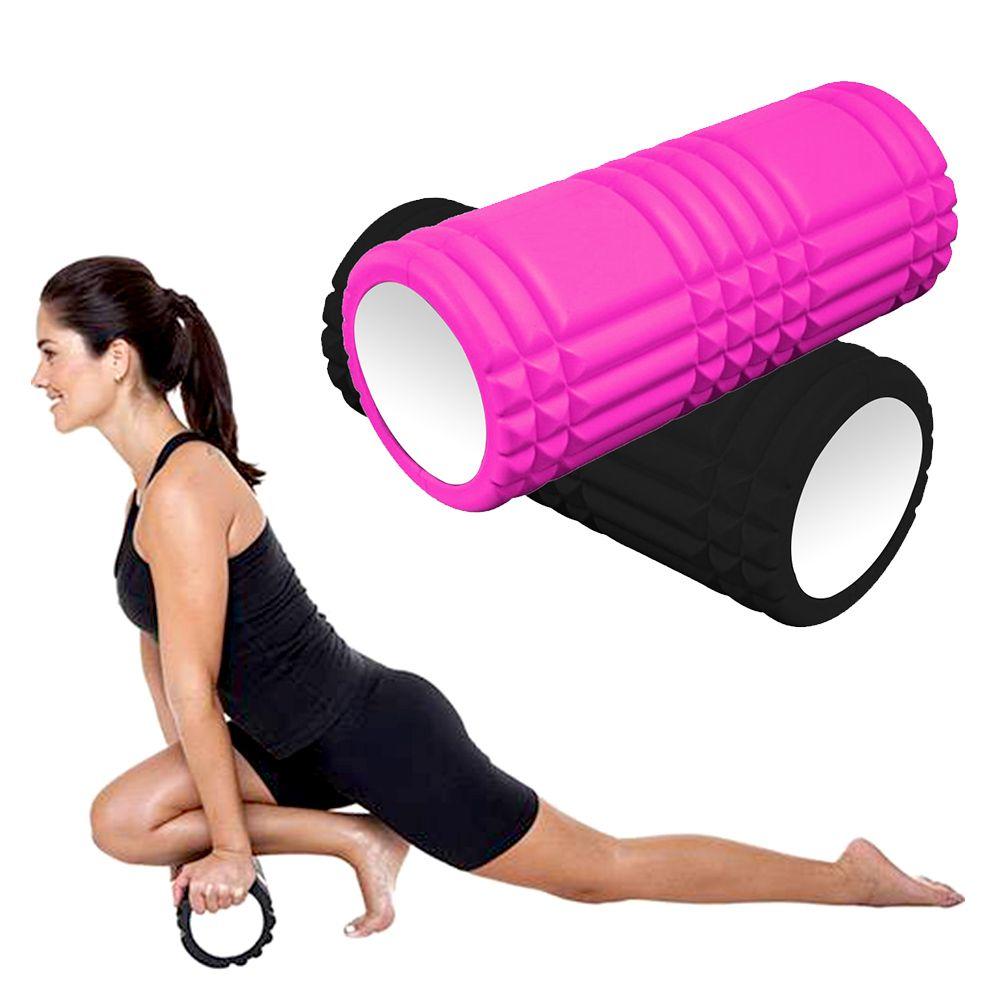 Rolo Massagem Miofascial Pilates Roller Foam Liberaçao Yoga Preto Ou Rosa