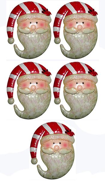 Rosto Papai Noel Natal Decoracao Natalino Kit Com 5 Unidades