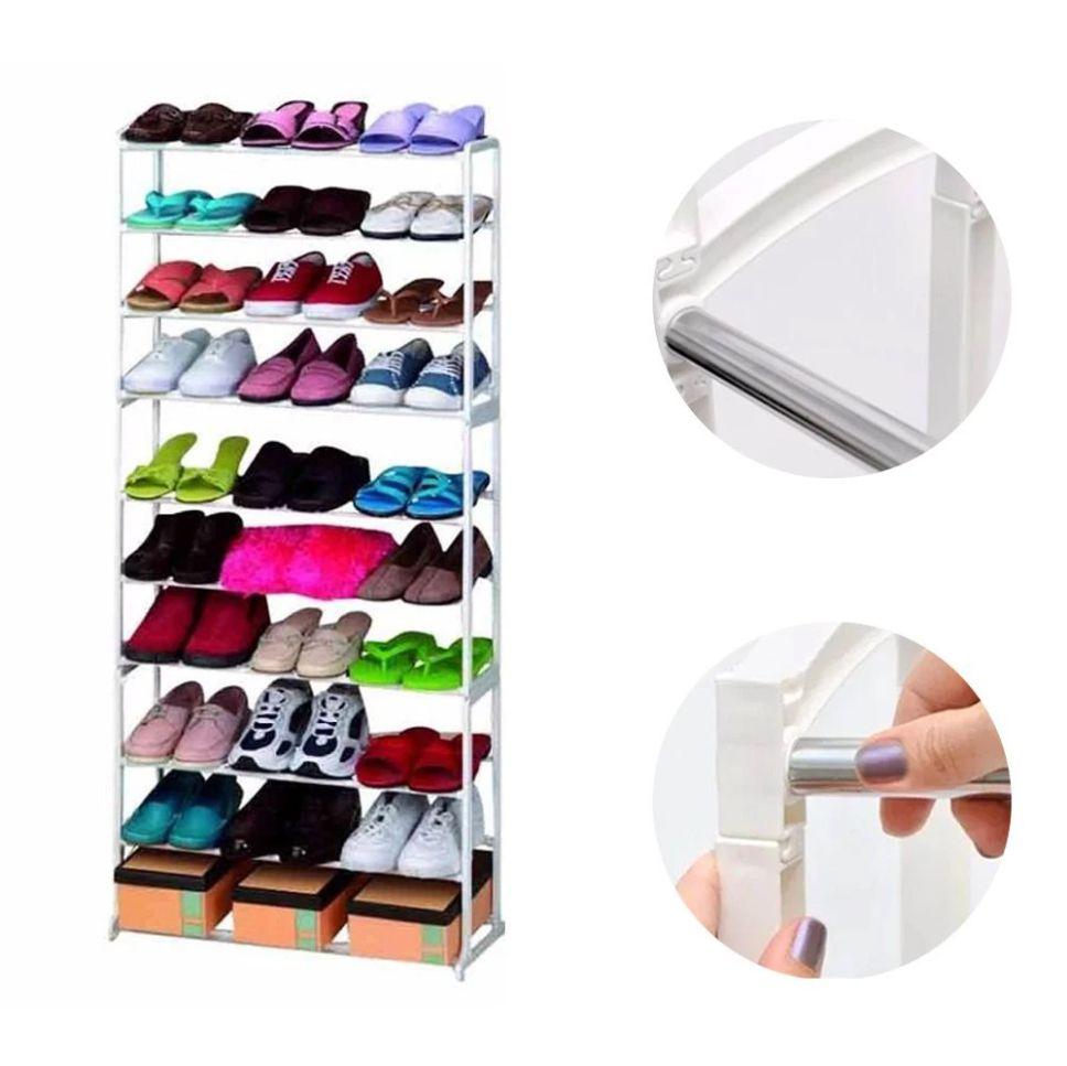 Sapateira 30 Pares 10 Andares Kit 2 uni. Vertical Sapato Casa Quarto Decoração Organização