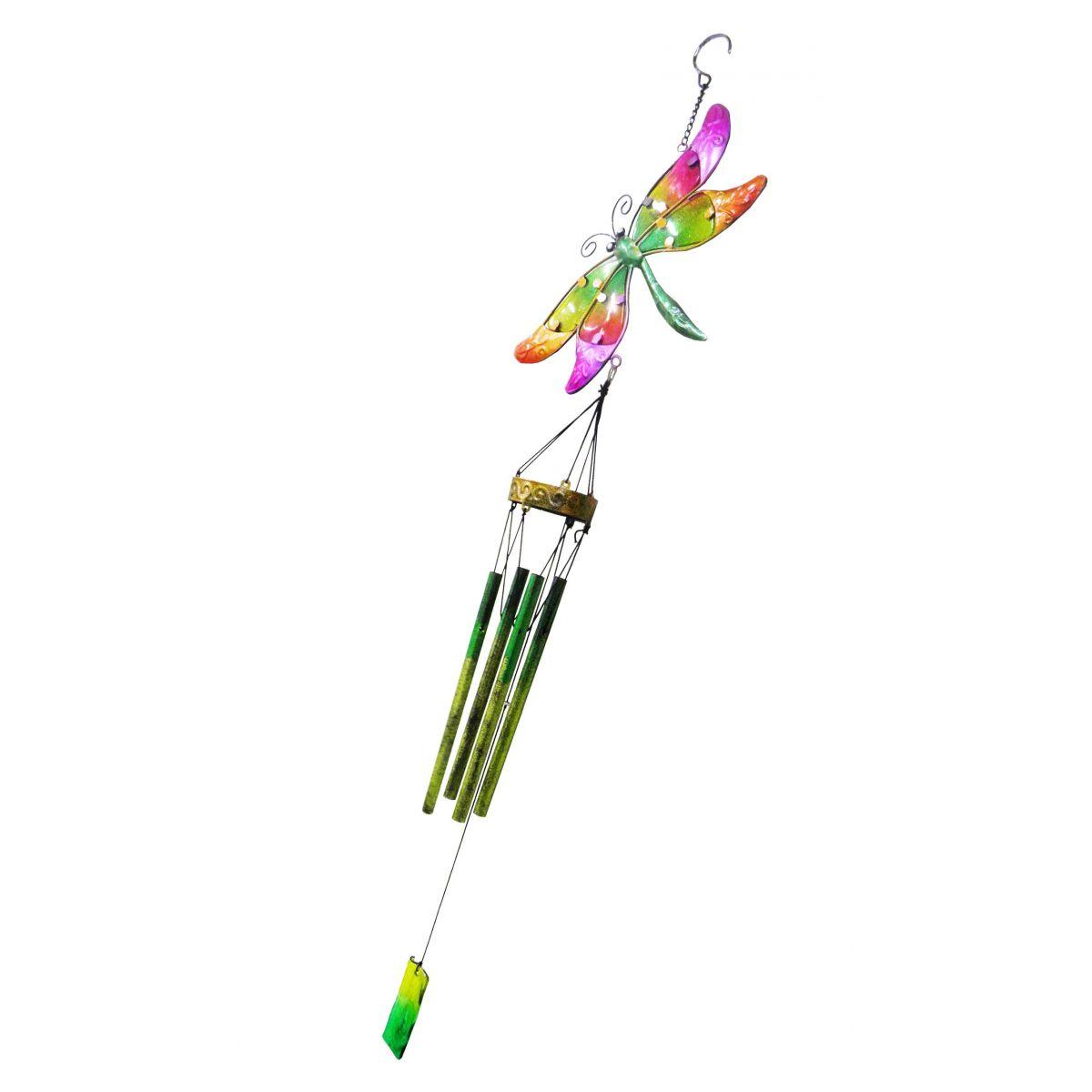 Sino dos Ventos Tradicional Libelula Colorida Aluminio Cauda Verde (SIN-1)