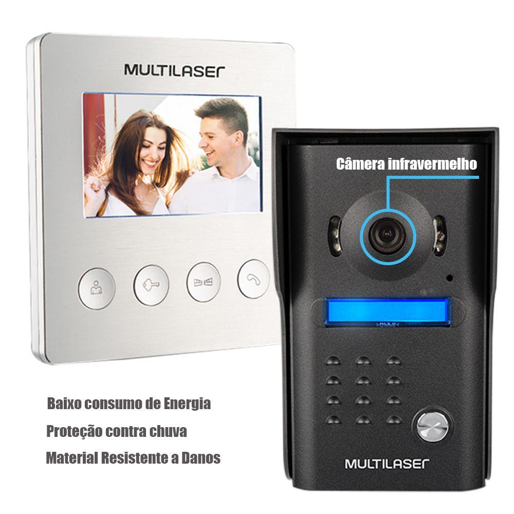 Porteiro Eletronico Video Interfone Sistema Tela Colorida 4,3 Pol. Kit Infravermelho