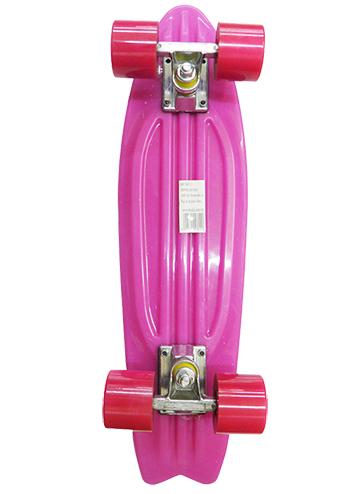 Skate Mini Longboard Retro Abec 7 Truck de Ferro Cor Rosa (SKT-12)