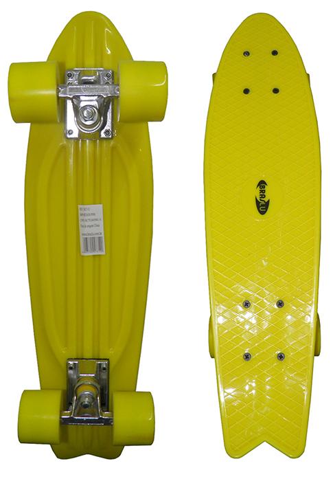 Skate Mini Longboard Retro Abec 7 Truck de Ferro Amarelo (SKT-12)