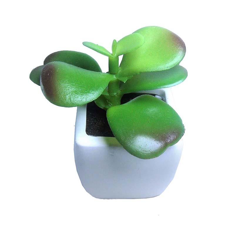 Suculenta Mini Planta Artificial Com Vaso Branco Mudas Decoracao Festa 4 Unid (SH-1 MOD KIT4)