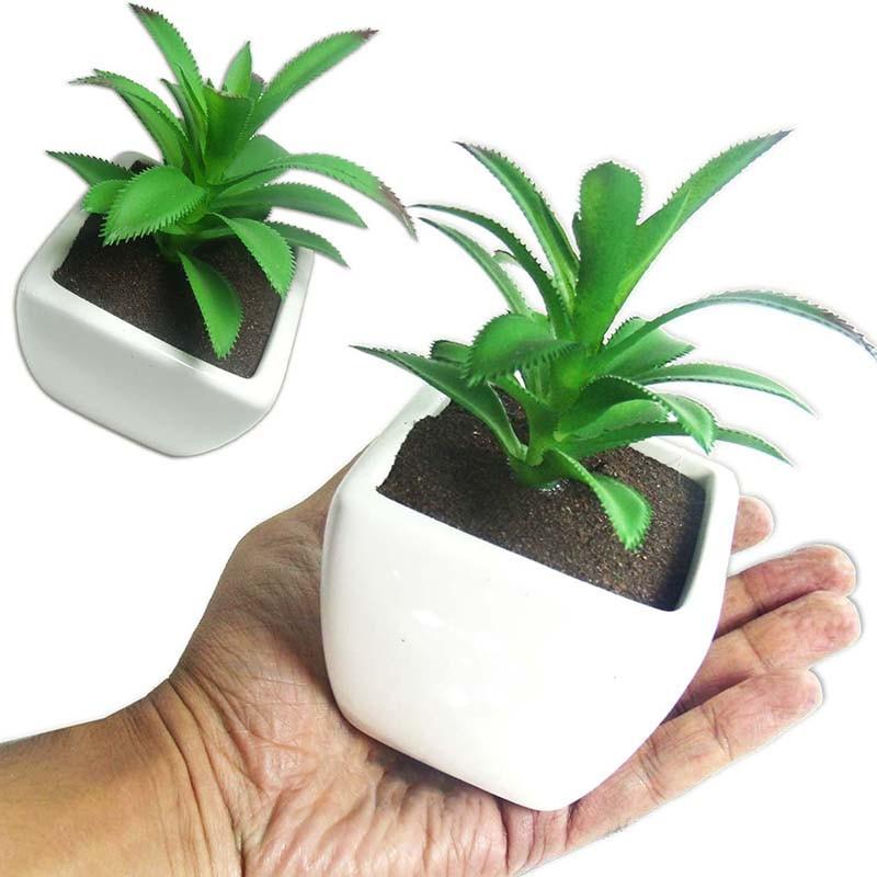 Suculenta Planta Artificial Cacto Com Vaso Branco Decoracao Festa Ponta Vermelha (SH-2 MOD4)