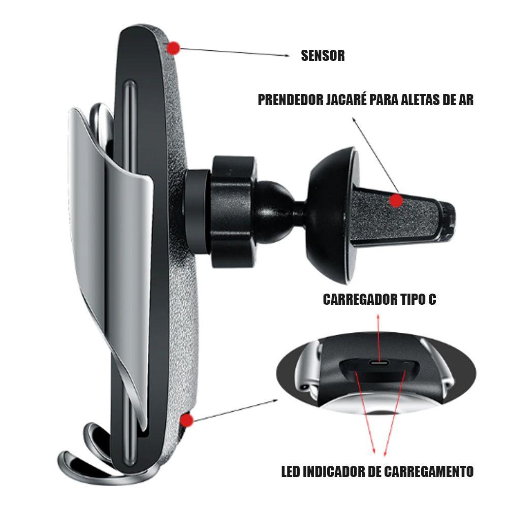 Suporte Veicular Carregador Induçao Universal Abre Fecha Sensor QI Celular Automatico