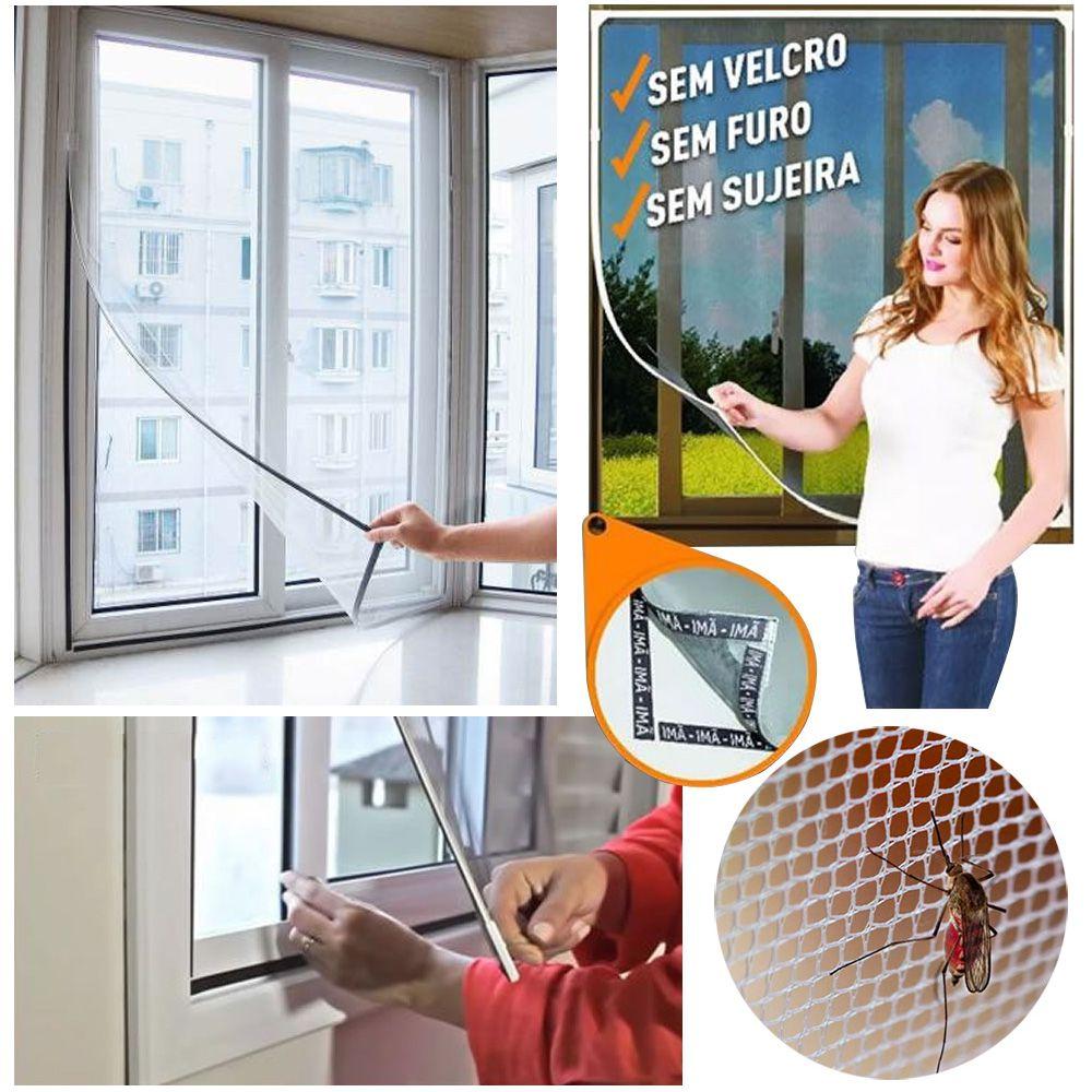 Tela  Mosquiteiro Cortina Janela Com Ímã Instalação Fácil Dengue Zika