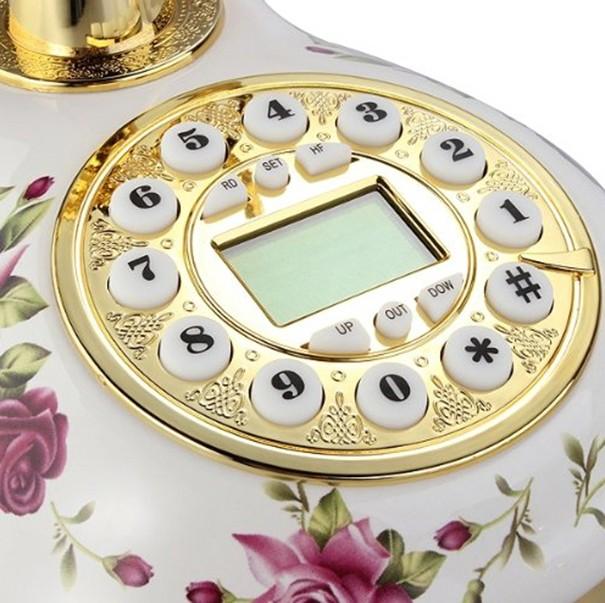 Telefone Vintage Retro Antigo Flores Dourado Enfeite Com Identificador Chamada Bina Rosa Escuro (888033)