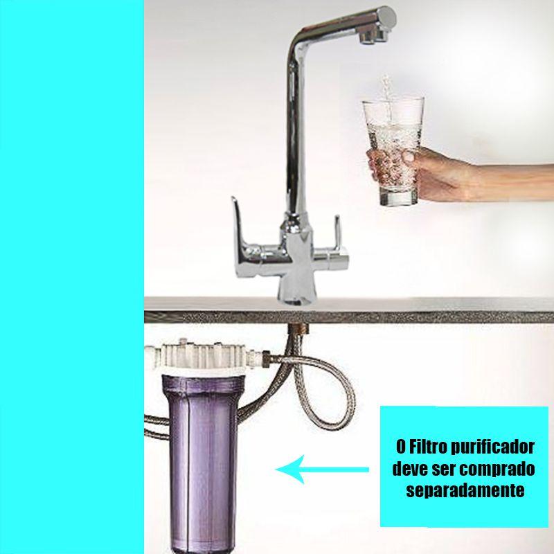Torneira Filtro Monocomando Inox Purificador 3  Vias Agua Quente e Frio