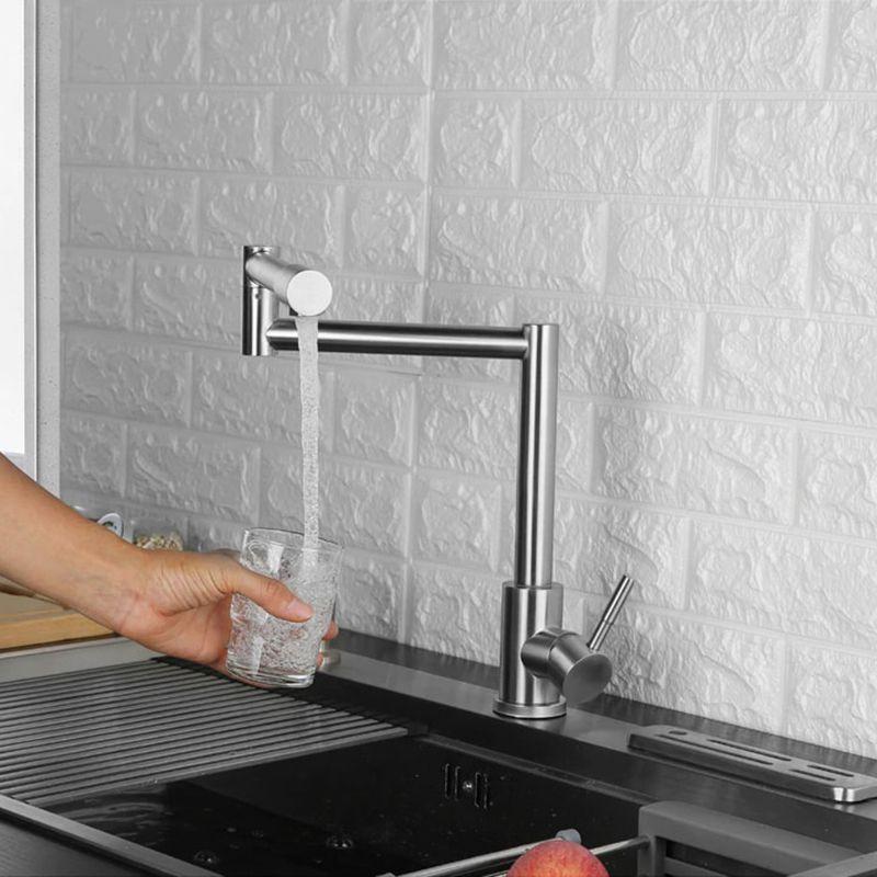 Torneira Monocomando Goumet Aço Inox Articulavel Escovado Bancada Cozinha