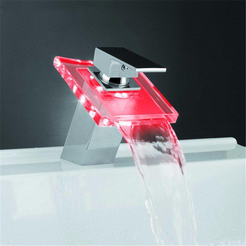 Torneira Vidro Luz LED Luxo Inox Cachoeira Agua Quente e Frio Banheiro