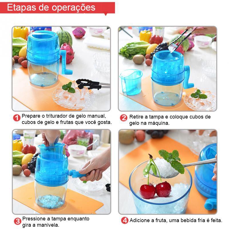 Triturador de Gelo Moedor Raspador Cubos Manual Verao Acrílico