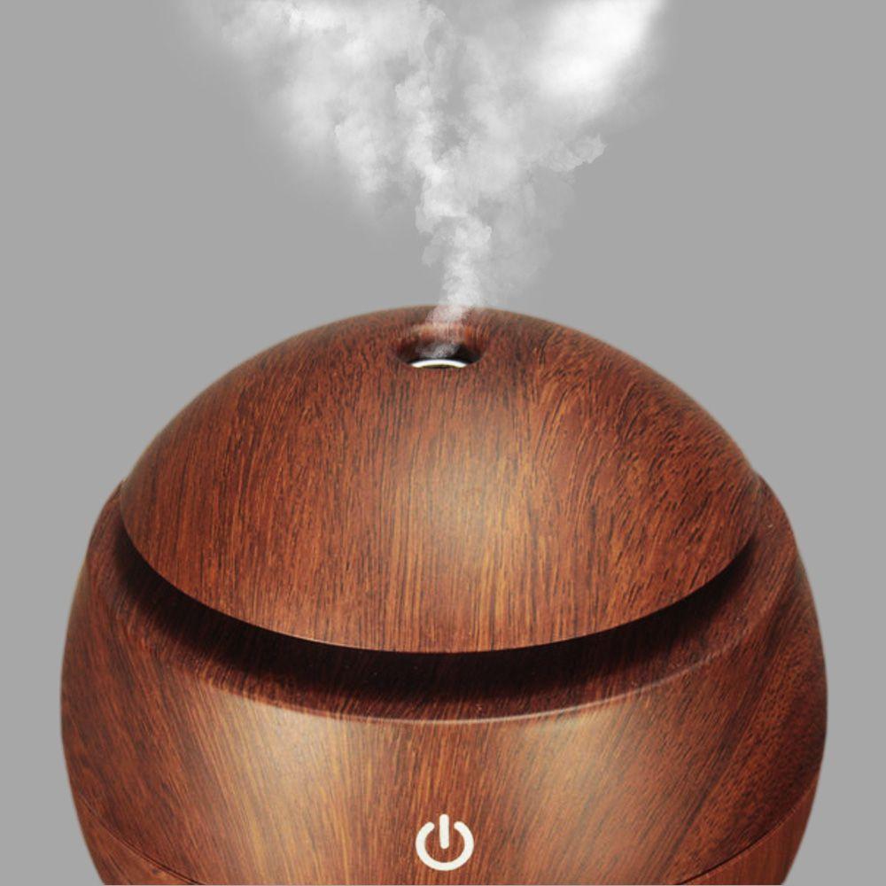Umidificador Aromatizador De Ar USB Difusor Aromas LED 7 Cores Madeira Escura