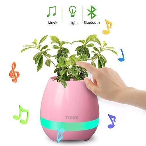 Vaso de Planta Musical Com Sensor Toque Caixa Som Bluetooth e Led Recarregavel Rosa (bsl-iyh-1)