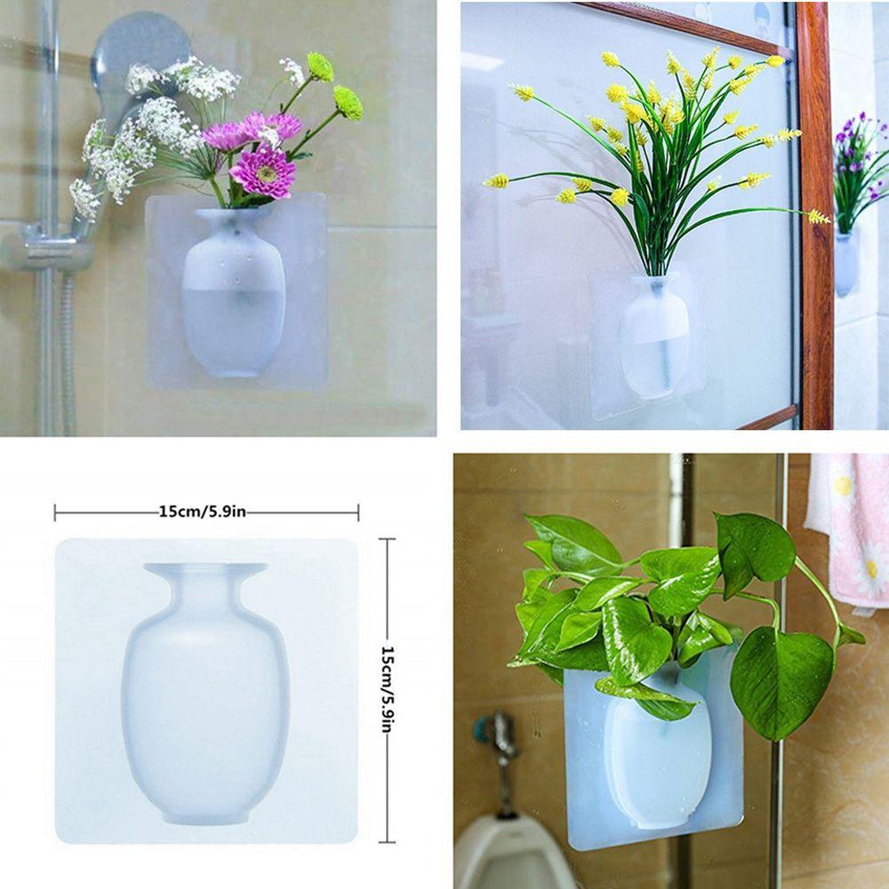 Vaso de Plantas Silicone Parede Adesivo Flor Agua Kit 2 Vidro Decoracao