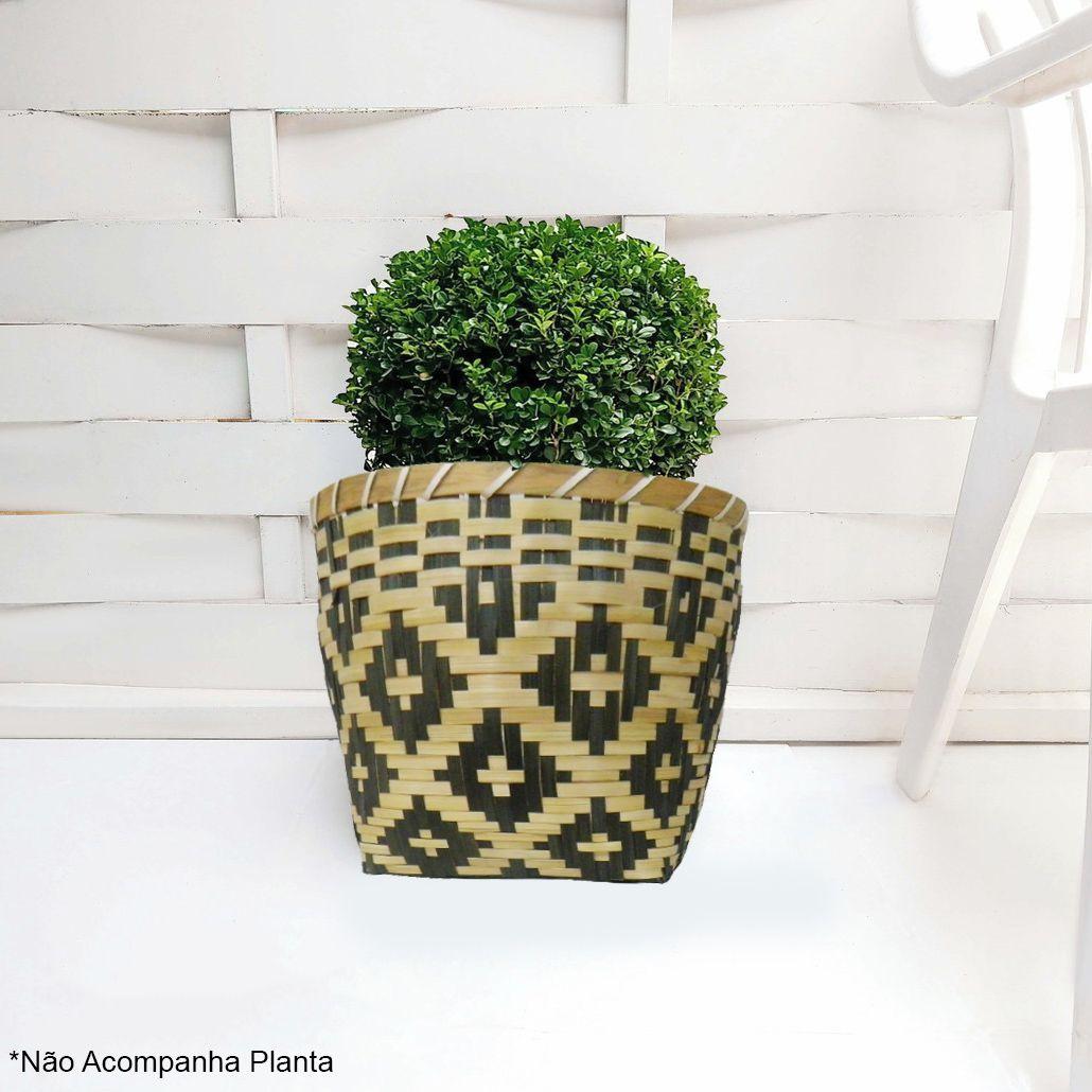 Vaso Planta Decoração Cesta Organizador Palha Kit 2 Enfeite Flor Jardim