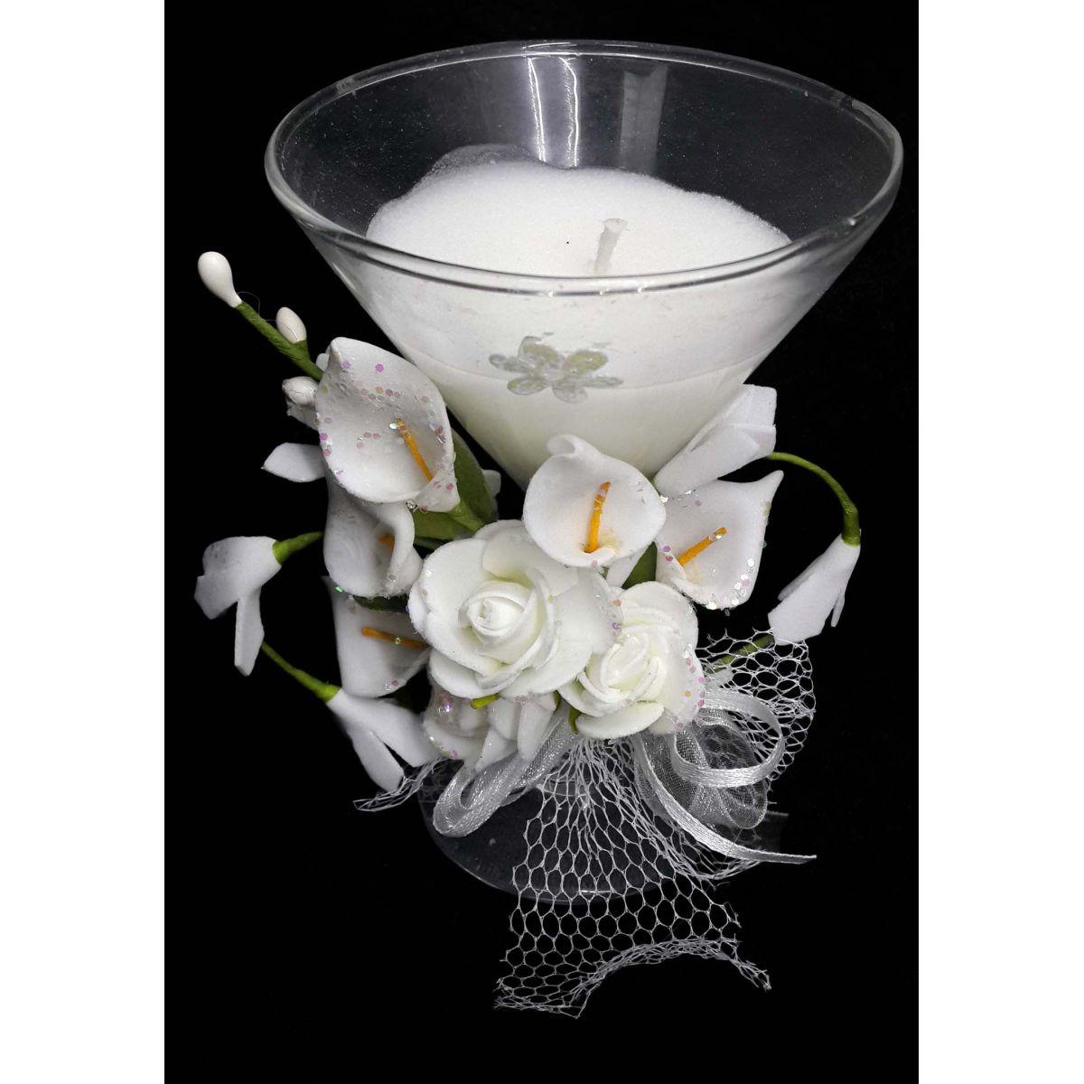 Vela de Parafina Enfeite Media Larga Eventos Flor Branca (WL-D)