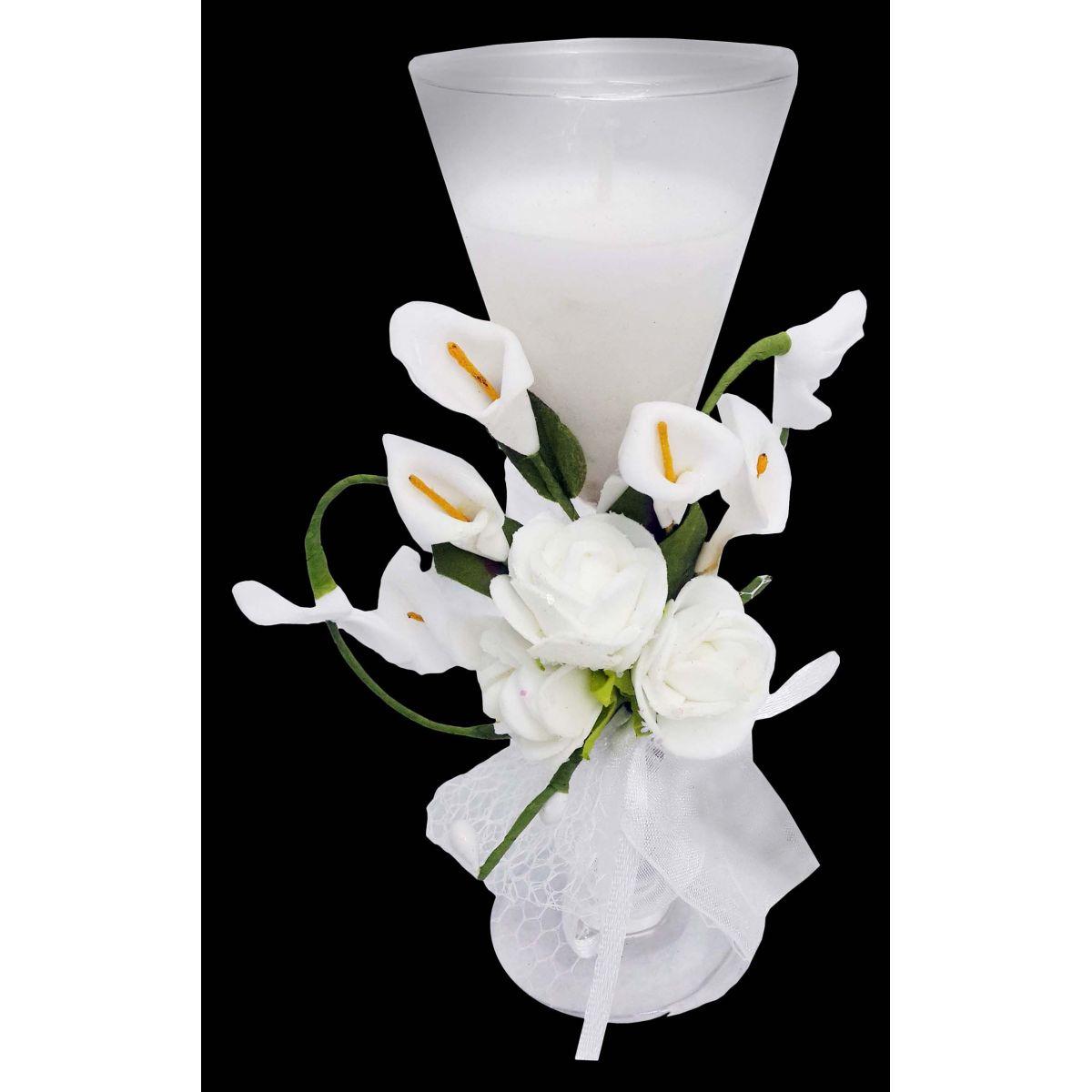 Vela de Parafina Enfeite Pequena Eventos Flor Branca (WL-C)