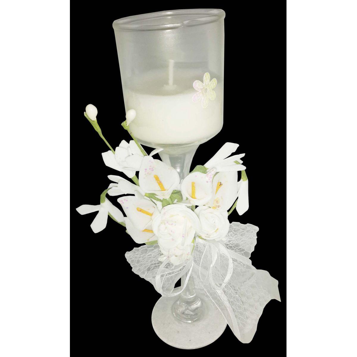 Vela Parafina Aromatizante Decorativa Media Fragrancia Flores Branca (WL-B)