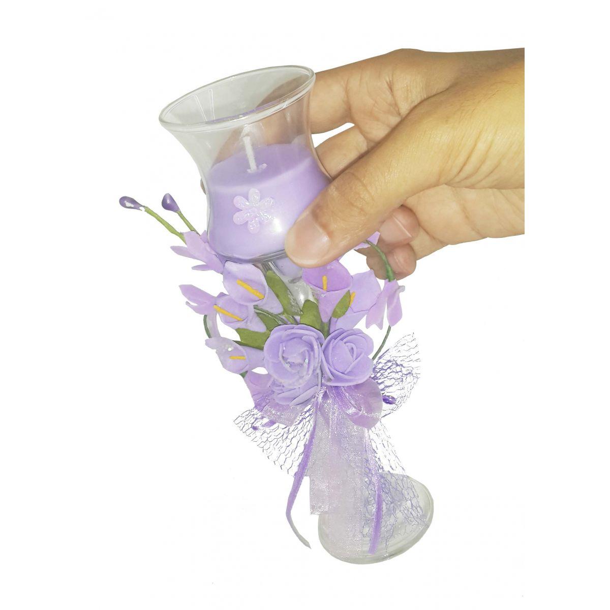 Vela Parafina Aromatizante Decorativa Media Fragrancia Flores Lilas (WL-B)