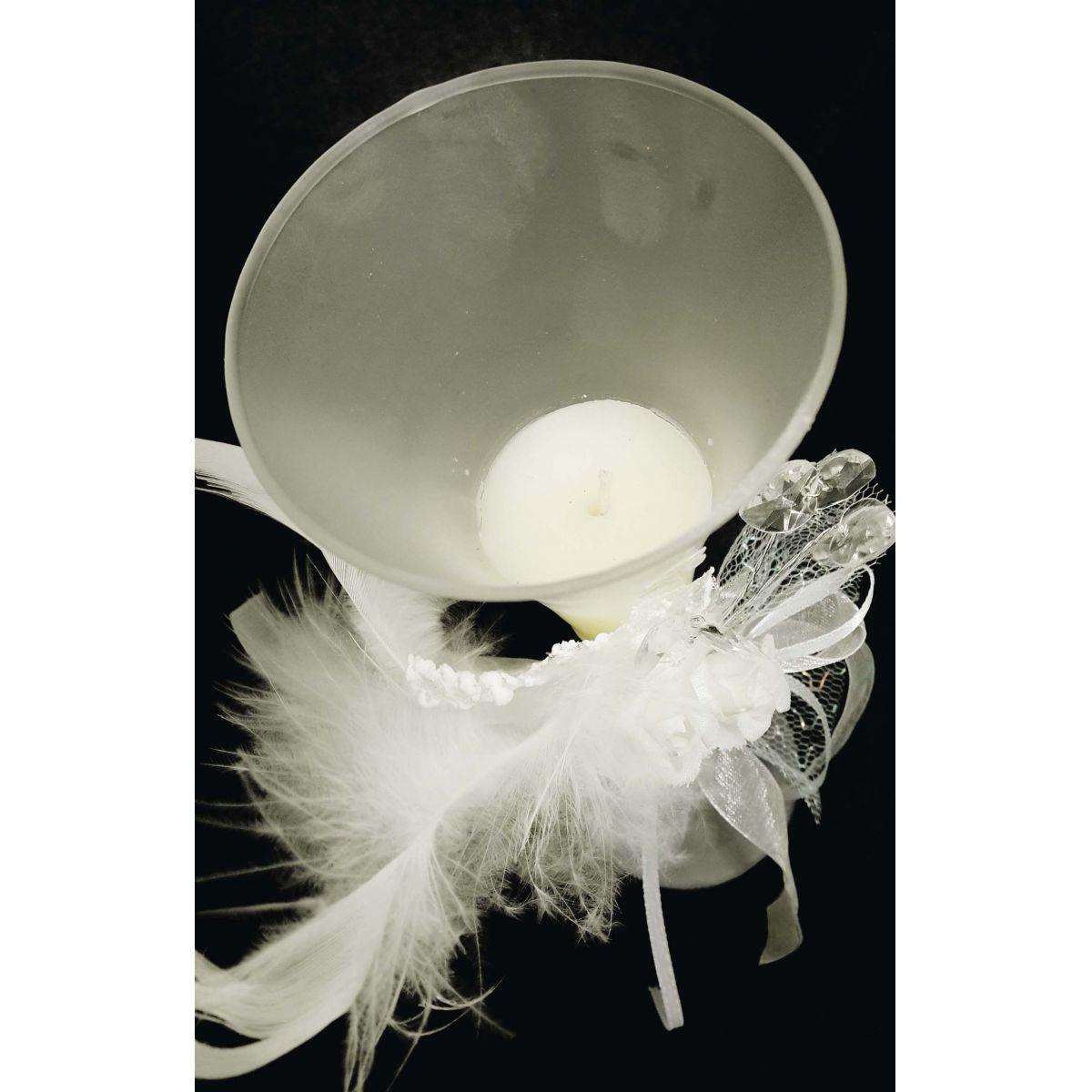 Vela Parafina Enfeite Mesa Festa Casamento 15 Anos Grande Flor Branca (WL-A)
