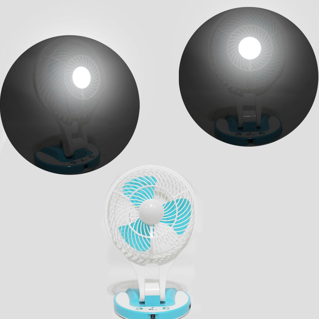Ventilador Bateria Recarregavel Luz Com 21 Led Ajustavel Azul Portatil