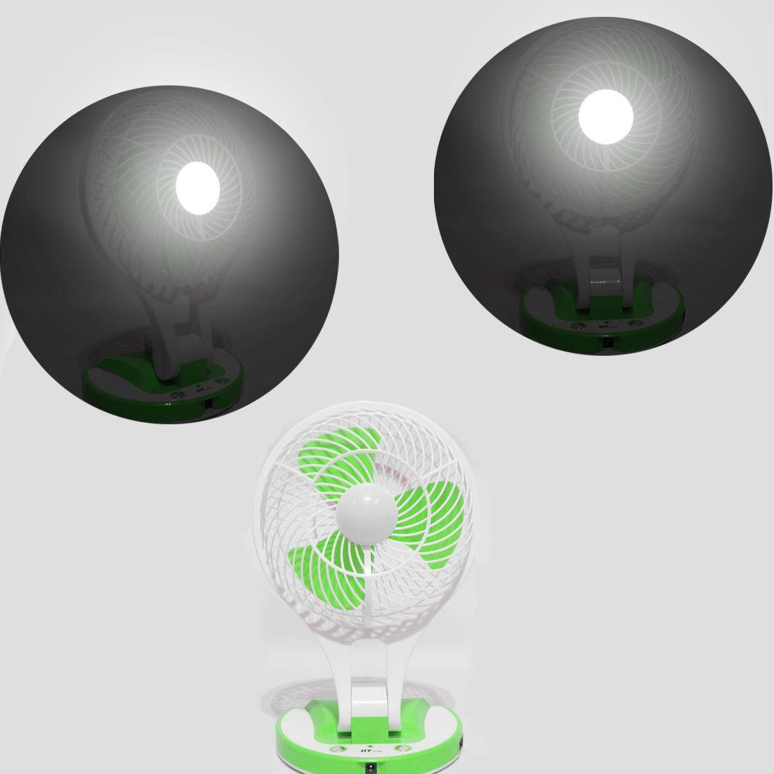 Ventilador Recarregavel Bateria Com 21 Led Luz Portatil Ajustavel Verde