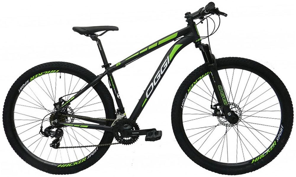 Bicicleta Oggi - Hacker Sport 29 - Preta / Verde + Brinde