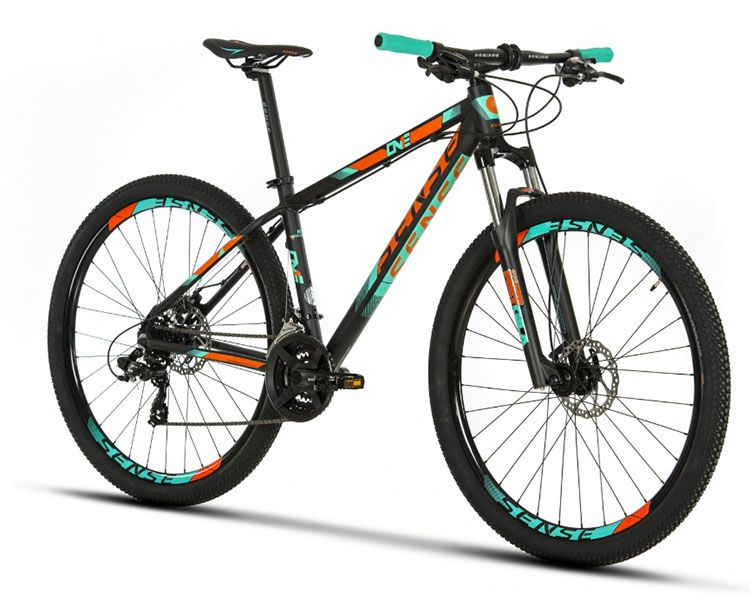 Bicicleta Sense One - 2019 - Preta / Laranja / Acqua