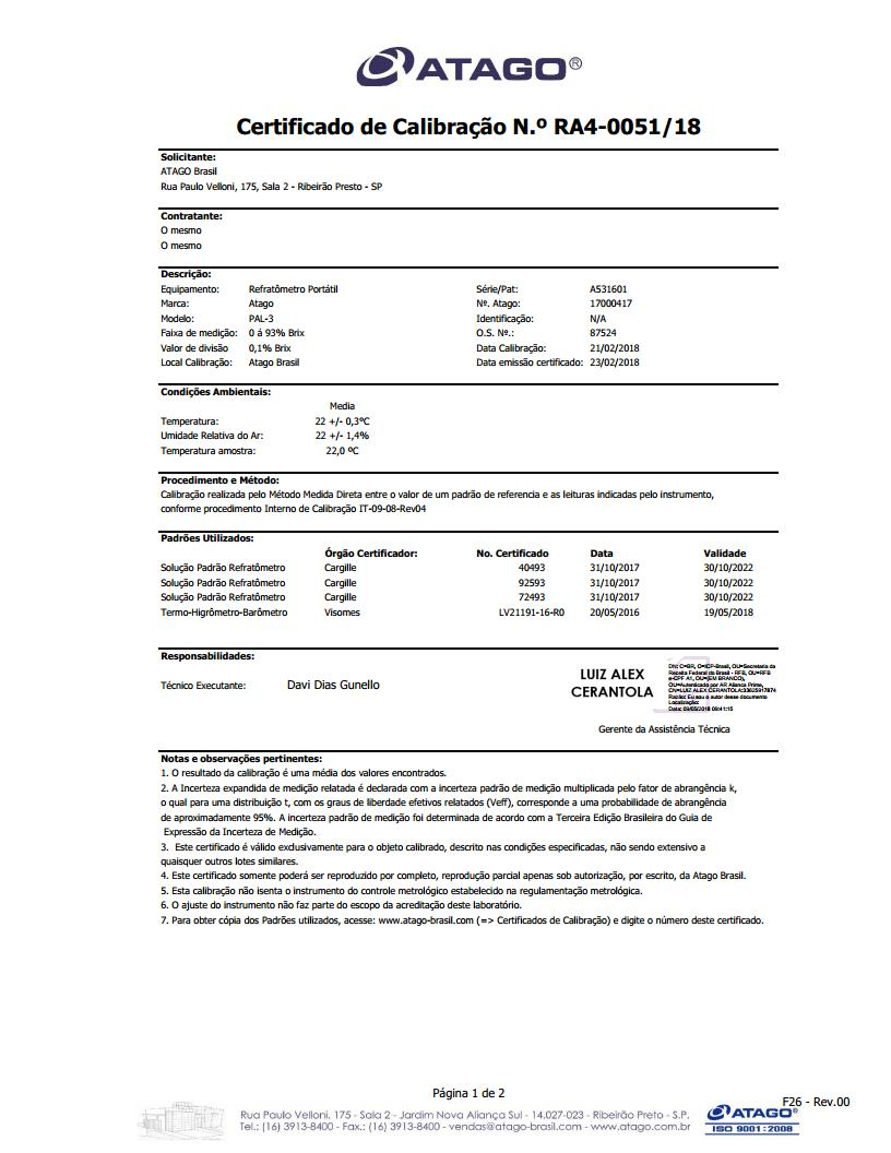 Certificado de Calibração Refratômetro Portátil (Rastreàvel RBC)
