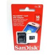1 Cartão Memória Micro Sd Sandisk 16gb Hd
