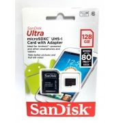 1 Cartão Memória Micro Sd Ultra Sandisk 128gb 80mb/s Full Hd