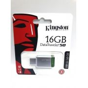 1 Pendrive 16gb Kingston Data Traveler 50 Usb 3.1 Original