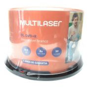 50 Mídia Virgem Dvd+r Dual Layer Multilaser Printable 8.5gb 240min