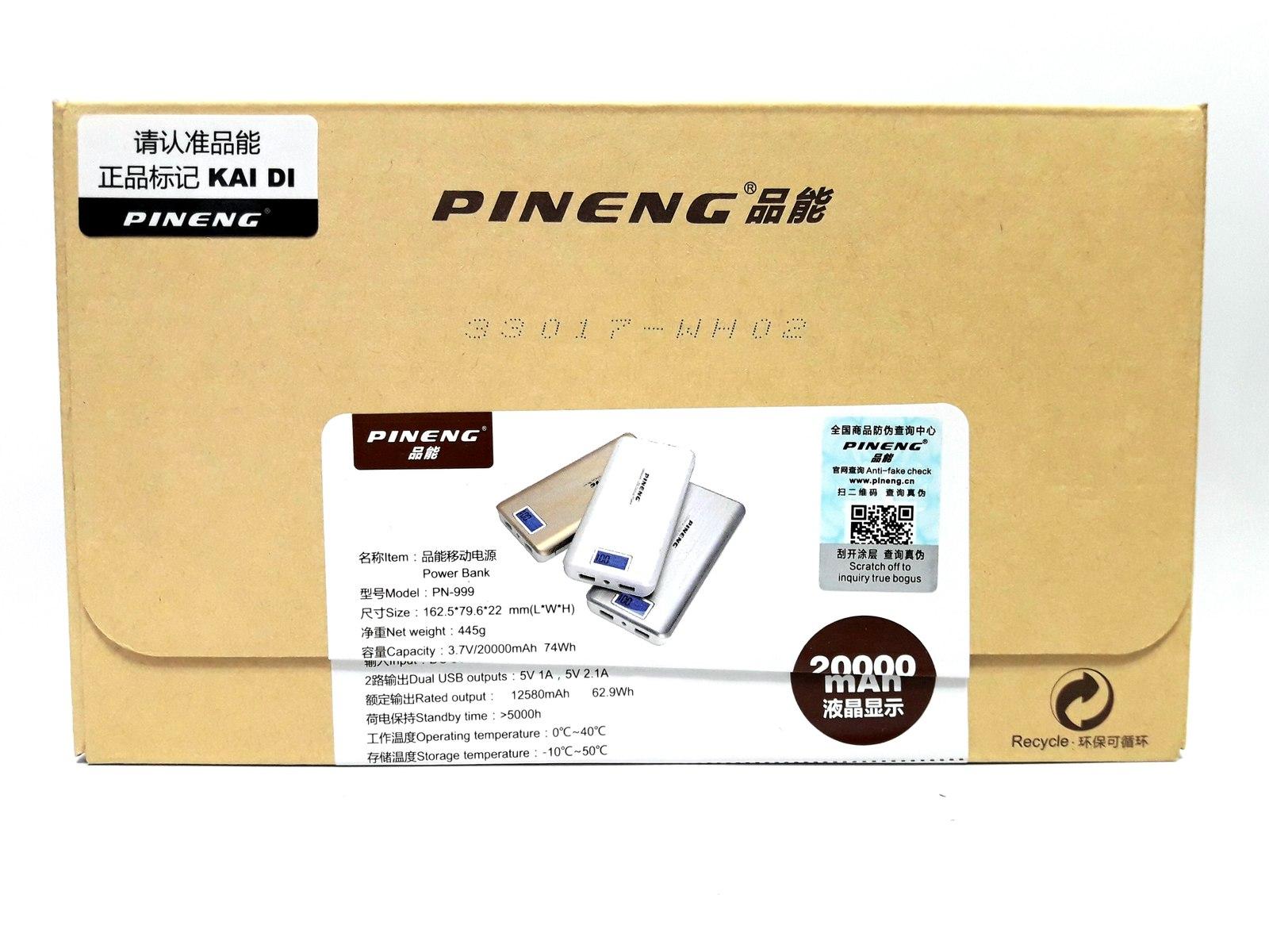 1 Bateria Externa Pening Power Bank 20000mah