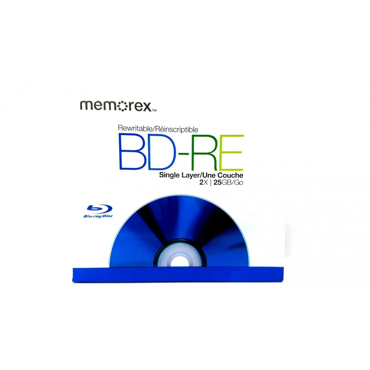1 Mídia Virgem Bluray Bd-re Regravável Memorex Logo 25gb 135min