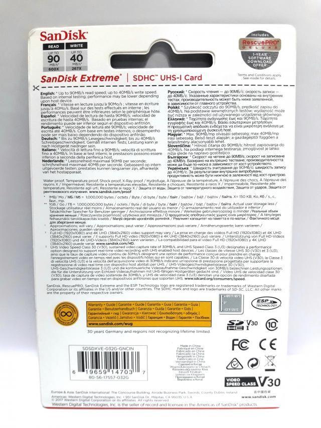 1 Cartão Memória Sd Extreme Sdhc Sandisk 32gb 90mb/s 4k