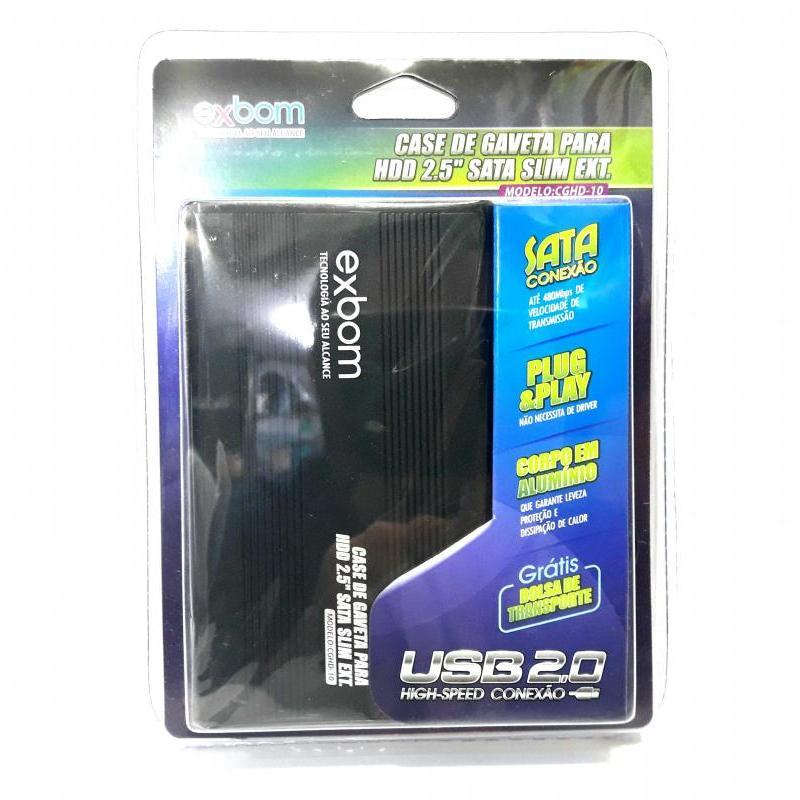 1 Case Gaveta Exbom HD Sata Externo 2,5 Notebook Usb 2.0 com Bolsa