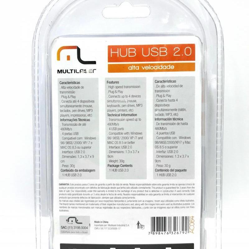 1 Hub Usb Multilaser 4 portas 2.0 Alta Velocidade AC064
