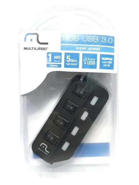 1 Hub Usb Multilaser 4 portas 3.0 Alta Velocidade AC264