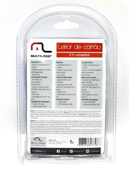 1 Leitor de Cartão 2.0 Universal Multilaser AC076