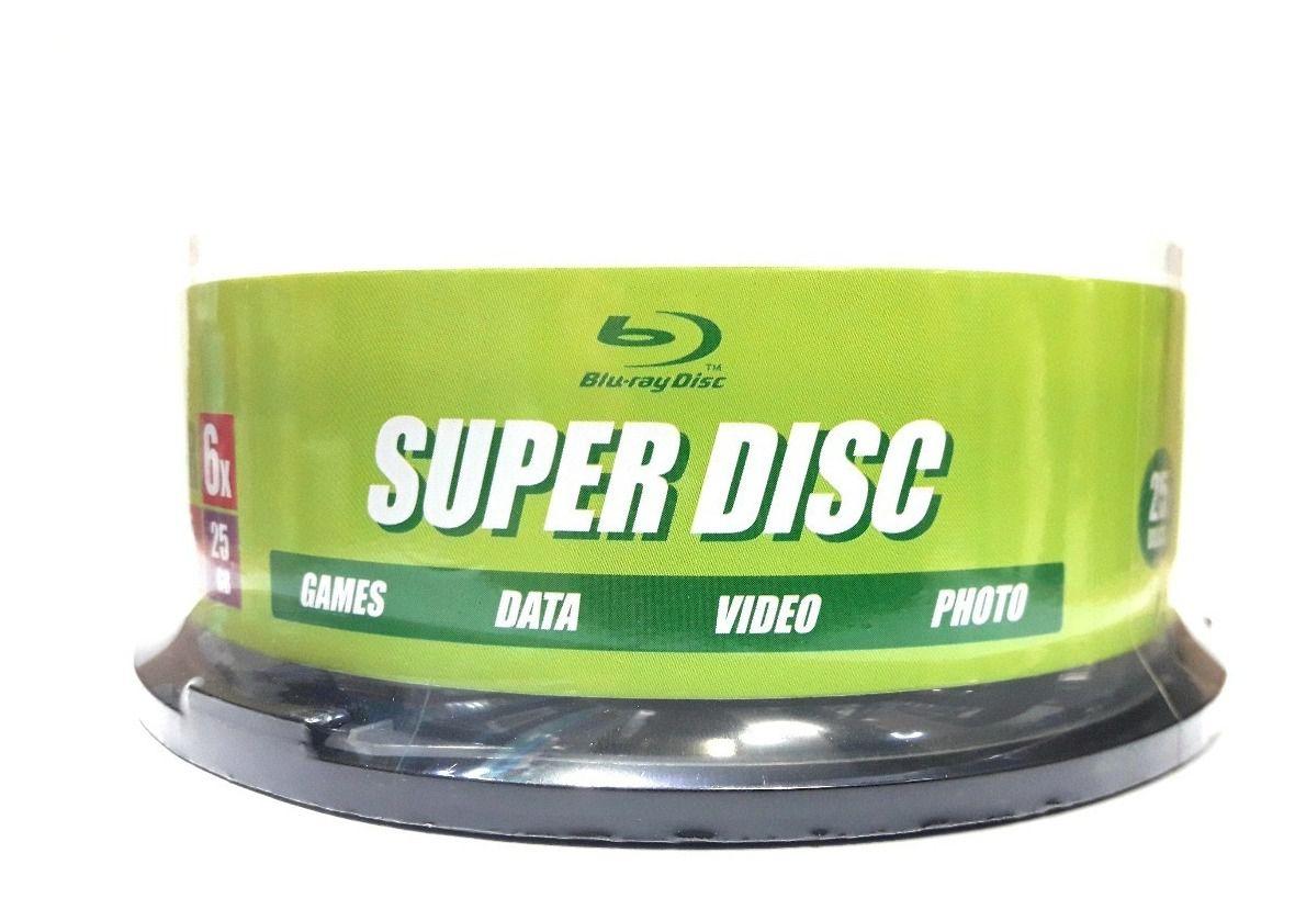 25 Mídia Virgem Bluray Bd-r Superdisc Printable 25gb 135min