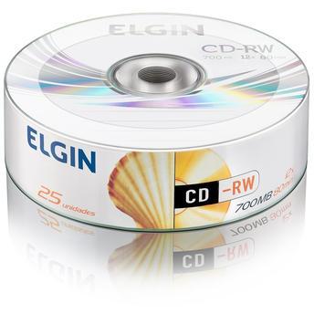 25 Mídia Virgem CD-RW Elgin Logo 700mb 80min
