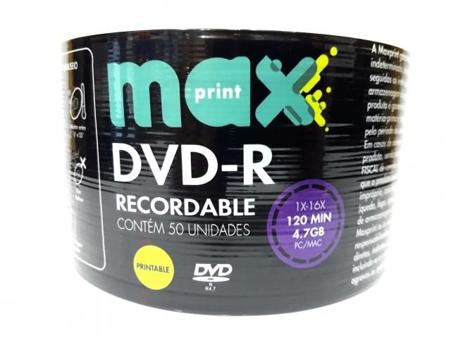 50 Mídia Virgem Dvd-r Maxprint Printable 4.7gb 120min