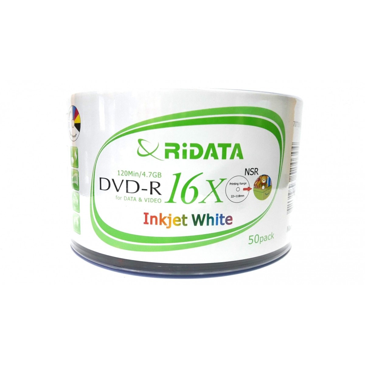 50 Mídia Virgem Dvd-r Ridata Printable 4.7gb 120min