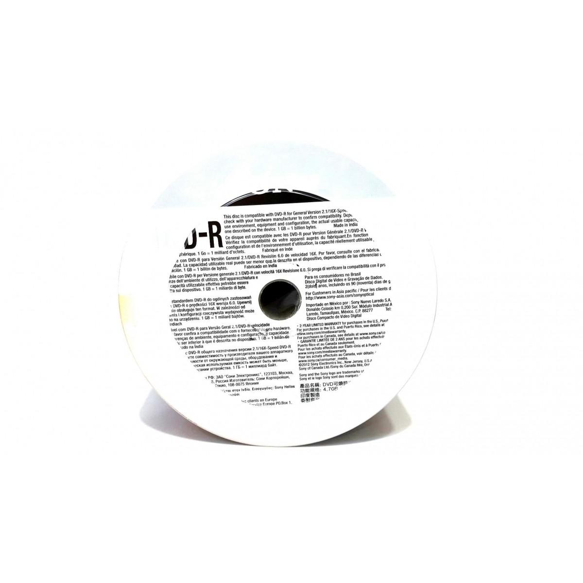 50 Dvd-r Sony Printable 4.7gb 120min