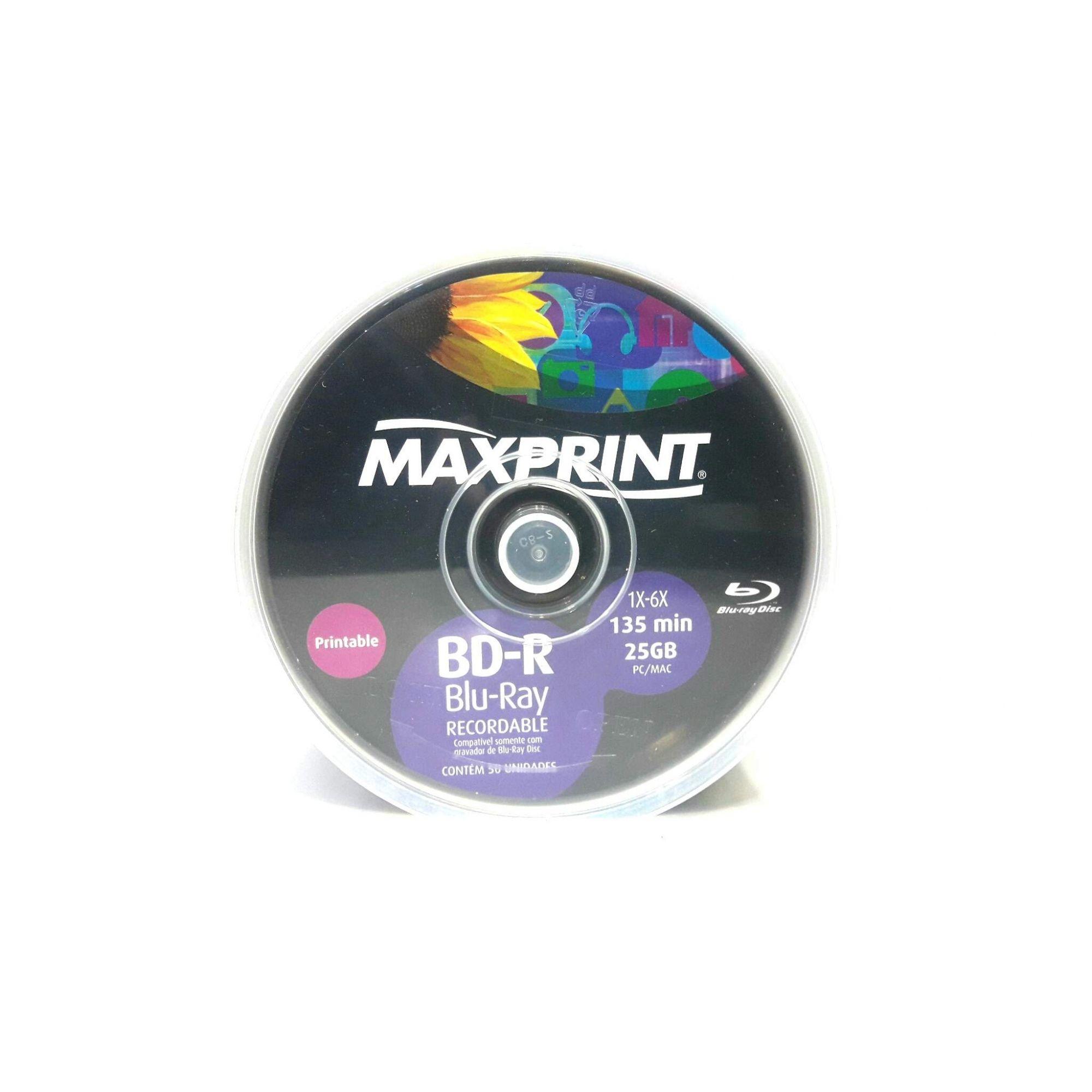 50 Mídia Virgem Bluray Bd-r Maxprint Printable 25gb 135min