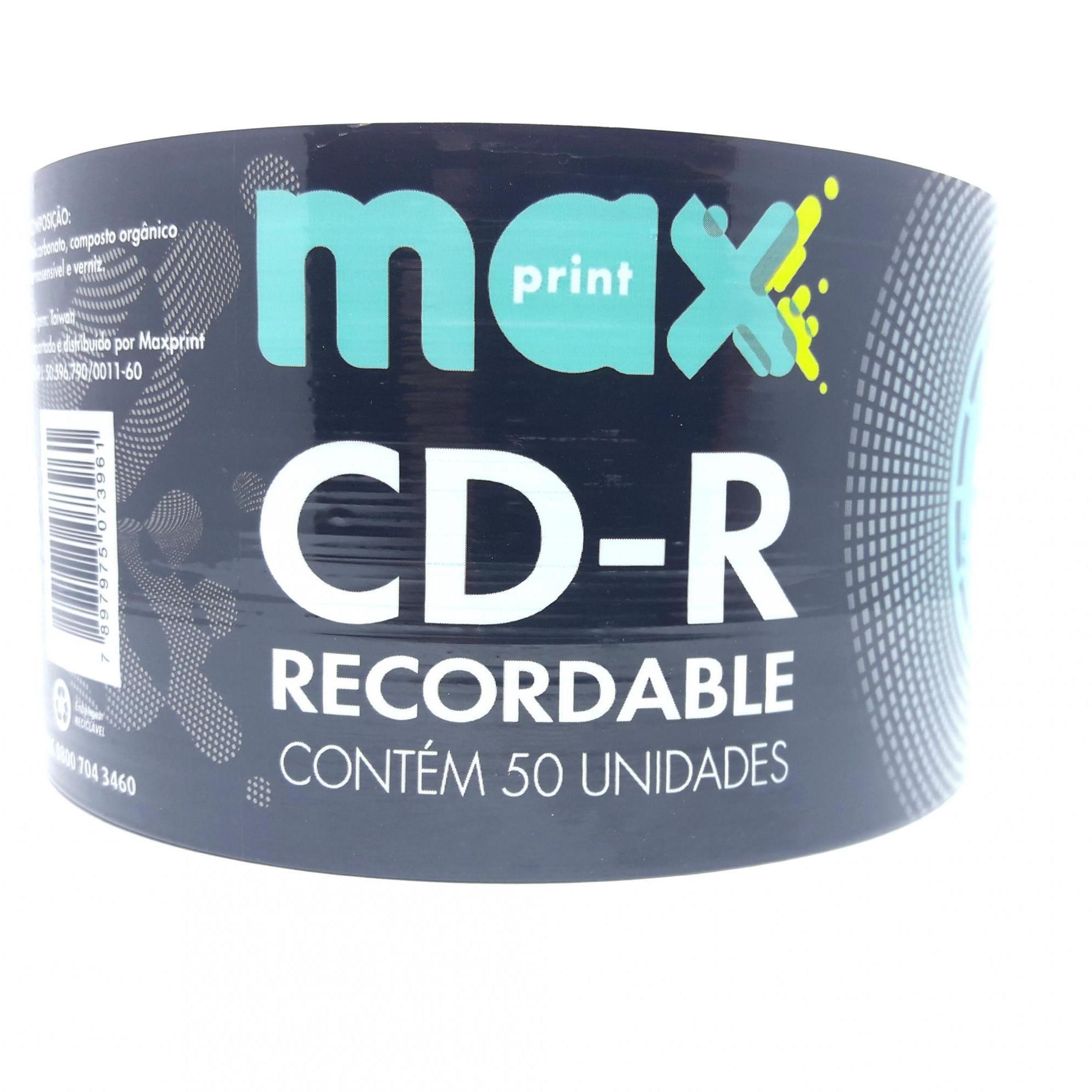 50 Mídia Virgem CD-R Maxprint Logo 700mb 80min